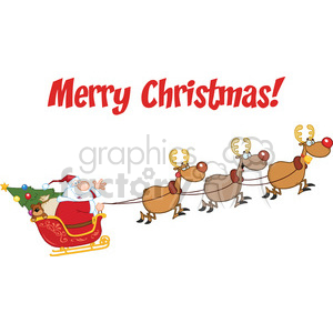 Merry Christmas Greeting With Santa Claus In Flight With His Reindeer And Sleigh clipart. Commercial use image # 393604