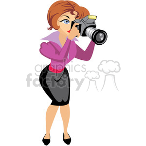 female photographer illustration holding camera clipart. Royalty-free icon # 393635