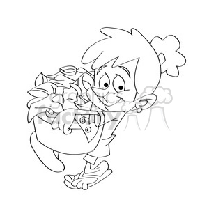 vector black and white cartoon child carrying a laundry basket