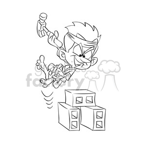 vector cartoon karate kid in black and white
