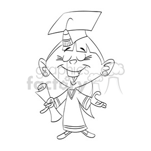 vector black and white cartoon girl graduation clipart. Commercial use image # 393745