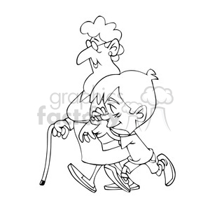 vector child walking with his grandmother in black and white clipart. Royalty-free image # 393755