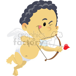 cupid with dark hair valentines vector