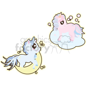 cartoon Unicorn Flattering illustration clip art image clipart. Commercial use image # 393859