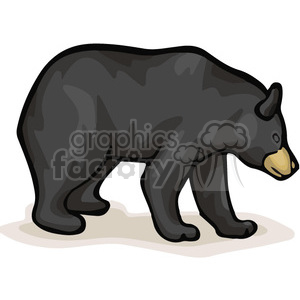 Full body profile of black bear clipart. Commercial use image # 130072