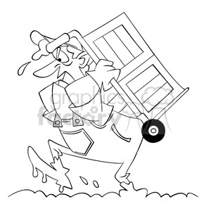 black and white image of moving guy carrying a dolly through mud barro negro clipart. Commercial use image # 393885