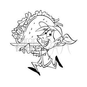 black and white image of waitress carrying huge taco gigante negro clipart. Commercial use image # 393895