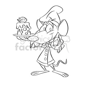 black and white cartoon mouse holding plate with cheese postre negro clipart. Royalty-free image # 393915