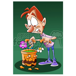 image of man with broken flower pot maceta quebrada clipart. Commercial use image # 393935