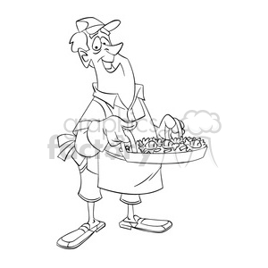 black and white image of man cooking dinner paella negro clipart. Commercial use image # 393985