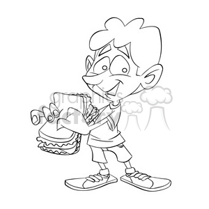 black and white image of boy eating a sandwich sandwish negro clipart. Commercial use image # 393995