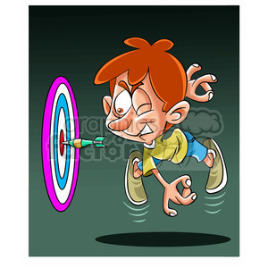 image of kid playing darts nino lanzando dardo clipart. Commercial use image # 394045