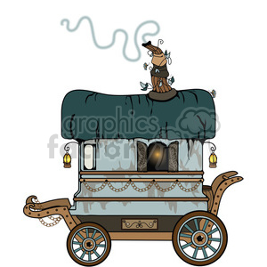 Teal Gypsy Wagon clipart. Commercial use image # 394105