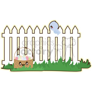Picket Fence cartoon character illustration clipart. Royalty-free image # 394135