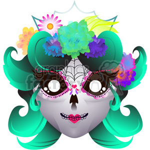 Day Of The Dead female skull illustration on white clipart. Royalty-free image # 394175