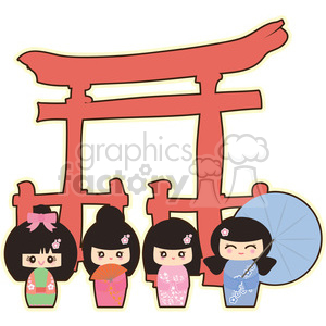 Geisha Group cartoon character illustration clipart. Commercial use image # 394185