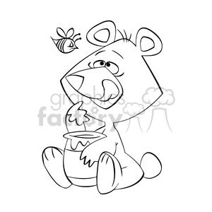 cartoon bear eating honey from jar in black and white clipart. Royalty-free image # 394215