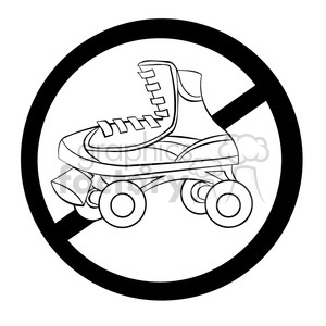 no roller skating sign in black and white clipart. Royalty-free image # 394225