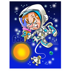 astronaut trying to eat ice cream cone in space clipart. Royalty-free image # 394260