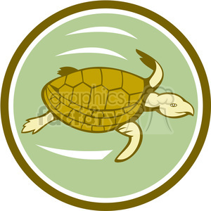 sea turtle swimming CIRC clipart. Royalty-free image # 394336
