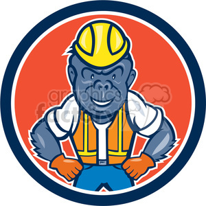 monkey gorilla face head animal mascot logo construction worker employee