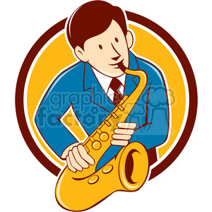 musician playing saxophone CIRC clipart. Commercial use image # 394366