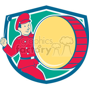 band member beating drum SHIELD clipart. Royalty-free image # 394396