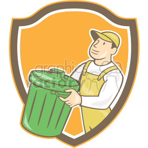 garbage collector rubbish bin SHIELD clipart. Royalty-free image # 394406