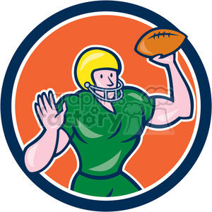 american football quarterback throwing OL CIRC clipart. Royalty-free image # 394426