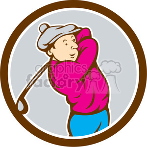 golfer swinging TEE OFF retro CIRC clipart. Royalty-free image # 394446