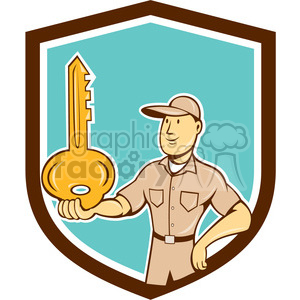 locksmith balancing key palm SHIELD clipart. Commercial use image # 394466