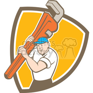 plumber carry wrench front SHIELD clipart. Royalty-free image # 394486