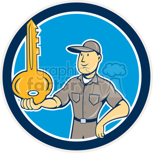 locksmith balancing key palm CIRC clipart. Commercial use image # 394506