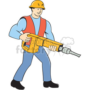 construction worker jackhammer carry