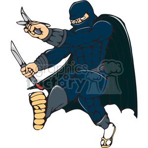 ninja warrior kicking CARTOON clipart. Commercial use image # 394526
