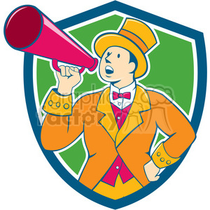circus ringmaster bullhorn CREST clipart. Royalty-free image # 394546
