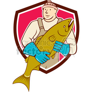 fishmonger holding salmon flish SHIELD clipart. Royalty-free image # 394576