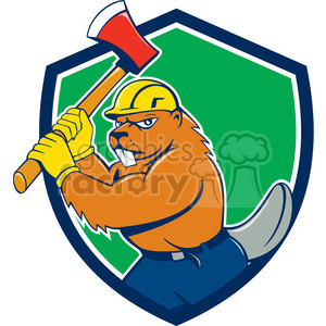 beaver wielding axe SHIELD clipart. Commercial use image # 394586
