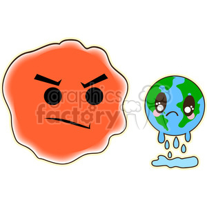 cute cartoon earth global+warming sun melt melting eco