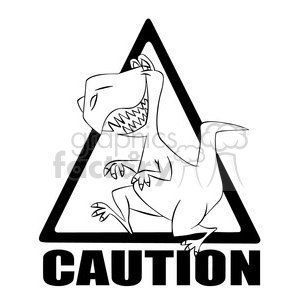 caution t rex crossing black and white clipart. Royalty-free image # 394706