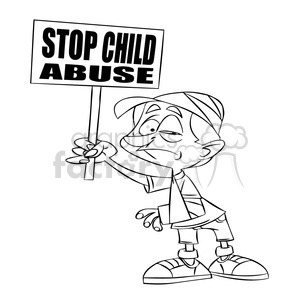 stop child abuse black and white clipart. Royalty-free image # 394726