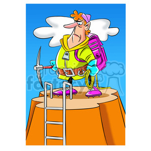 cartoon mountain climber climbing everest man guy hiking camping