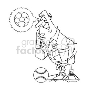 soccer player confused by a baseball black and white clipart. Royalty-free image # 394746
