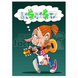 musician thinking about his music clipart. Commercial use image # 394766