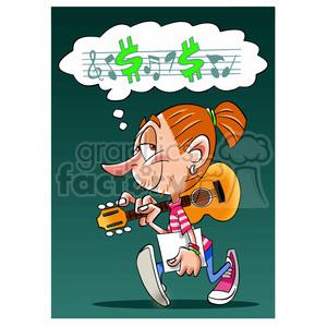 cartoon music musician dream dreaming kid person girl