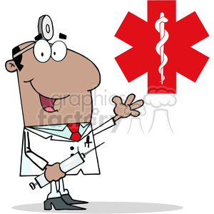 128512 RF Clipart Illustration African American Doctor Holding Syringe and Waving for Greetings In Front Of Red Cross animation. Royalty-free animation # 385111