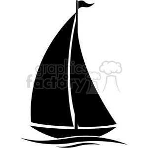 sailboat silhouette in water with flag clipart. Royalty-free image # 394858