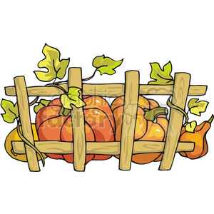thanksgiving pumpkins growing along a fence clipart. Royalty-free image # 145497