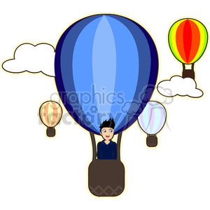Hot air balloon boy cartoon character vector image clipart. Royalty-free image # 394909