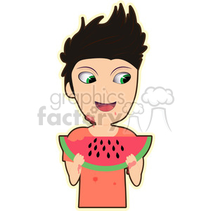 Watermelon Boy cartoon character vector image clipart. Commercial use image # 394919
